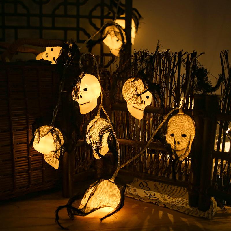 LED Skull Light String for Party Festive Halloween Decorations Ghost Skull Shape Ornament