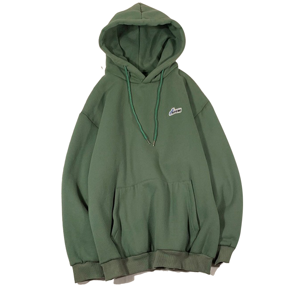 Men Women Hoodie Sweatshirt Letter Solid Color Loose Fashion Pullover Tops Army Green_L
