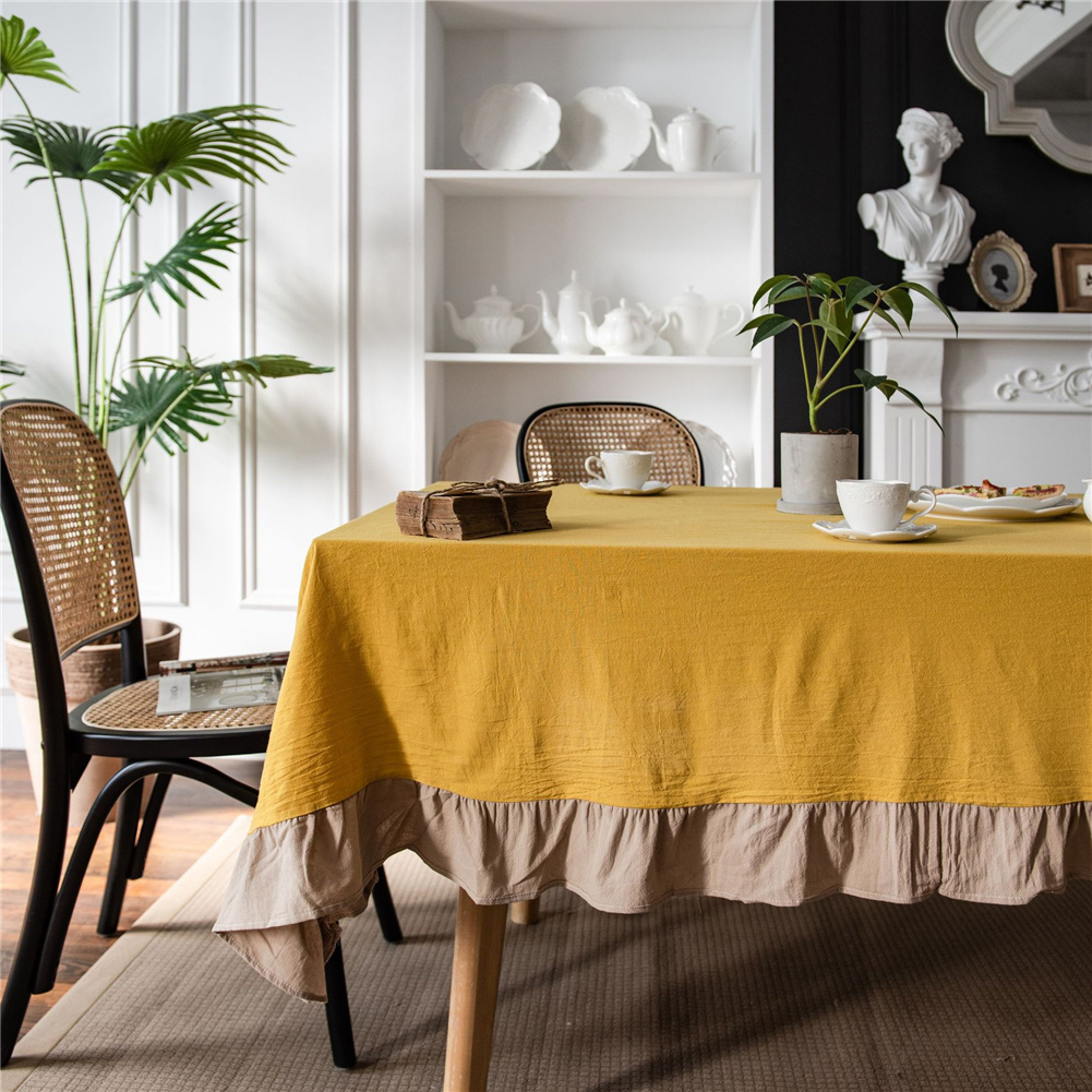 Cotton Flounce Tablecloth For Home Picnic Camping Outdoor Table Cloth Decor Yellow_140*200cm
