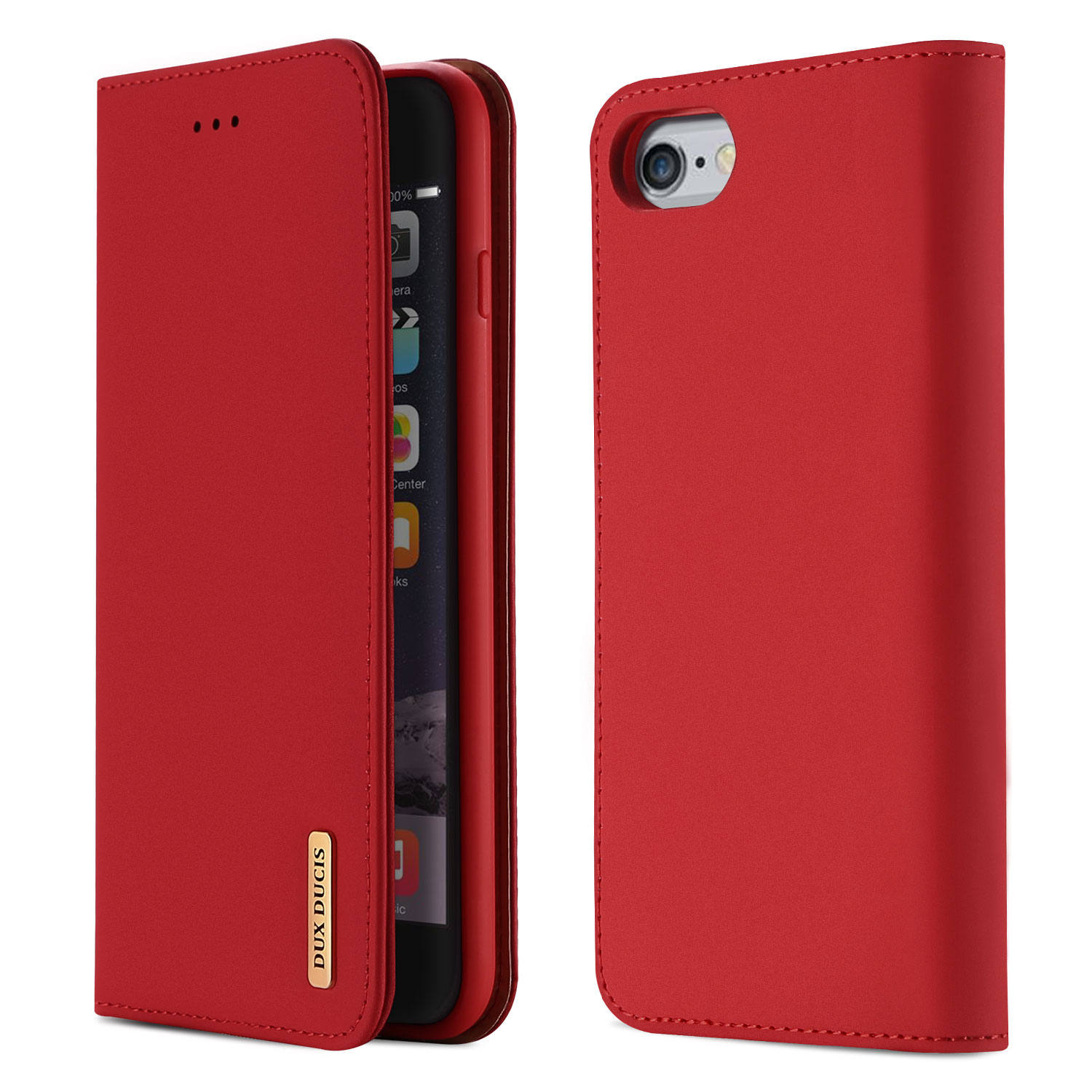 DUX DUCIS For iPhone 6/6s Luxury Genuine Leather Magnetic Flip Cover Full Protective Case with Bracket Card Slot red