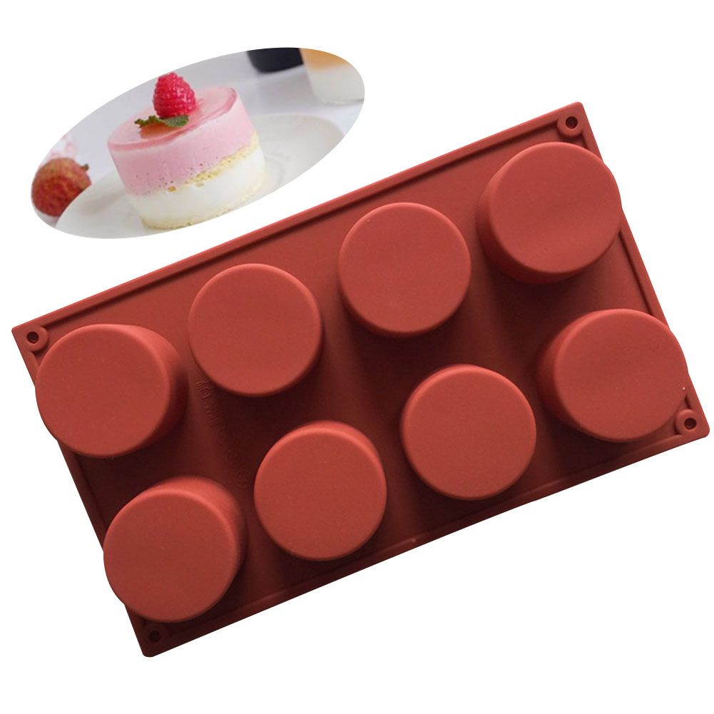 8-Cavity Silicone Mold Heat-resistant Mold for Cupcake Pudding Candle Decorating Tool  Brick red