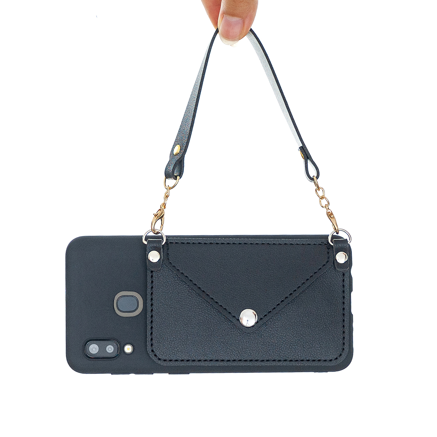For HUAWEI Y5 2018/2019/Y6 2019/Y7 2019/PSMART Z/Y9 2019 Mobile Phone Cover with Pu Card Holder + Hand Rope + Straddle Rope black