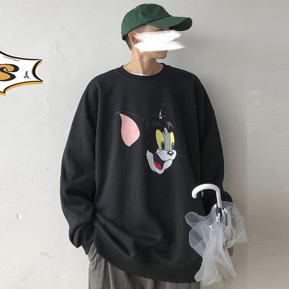 Men Women Cartoon Sweatshirt Tom and Jerry Crew Neck Printing Loose Pullover Tops Black_L