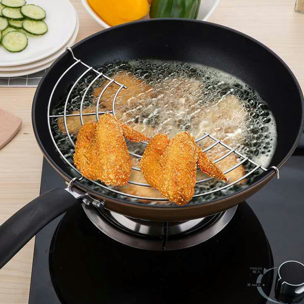 1PC Stainless Steel Semicircle Heat Insulation Steam Rack Drain Oil Filter Rack Kitchen Gadgets 24cm