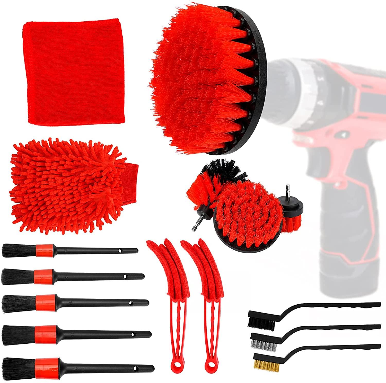 16pcs Plastic Car Electric Brush Car Detail Brush Cleaning Brush Set Car Cleaning Tool Red
