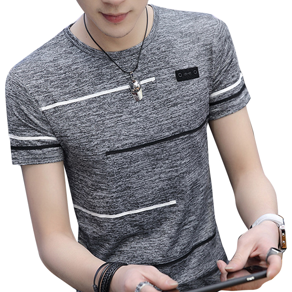 Men Short Sleeve Fashion Printed T-shirt Round Neck Tops gray_L