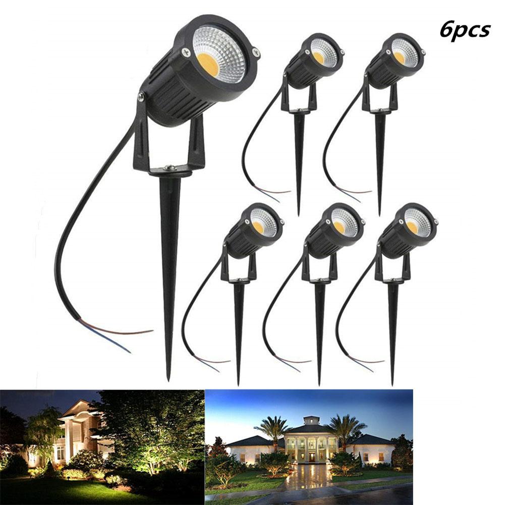 6pcs LED 5W COB Ground Lamp Waterproof Lawn Pin Lamp for Yard Garden Light Decoration 85-265V warm light