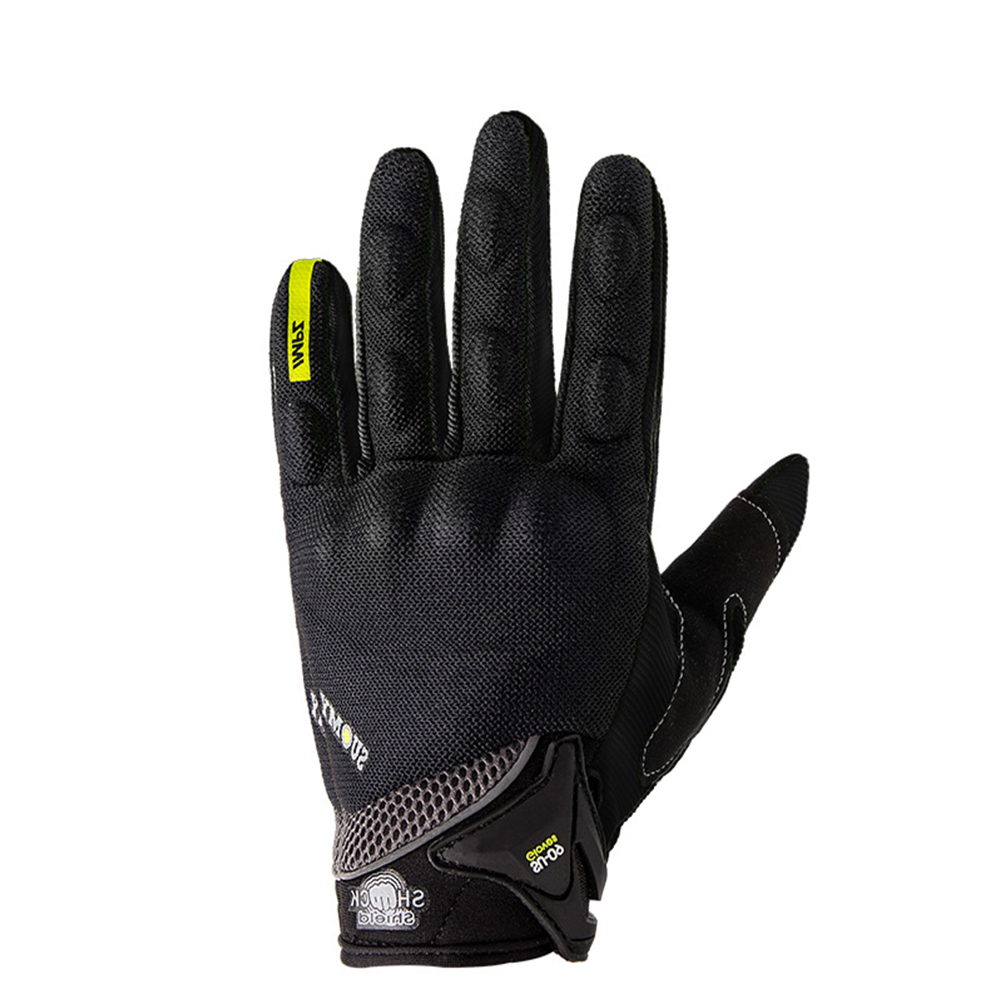 Full Finger Breathable Summer Gloves Touch Screen Motorcycle Racing Gloves Men Protective Gloves black_M