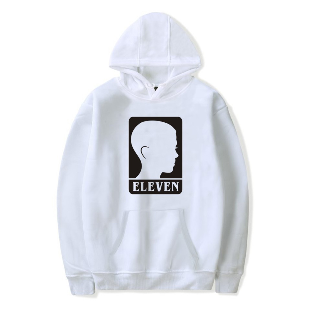 Men Fashion Stranger Things Printing Thickening Casual Pullover Hoodie Tops white-_L