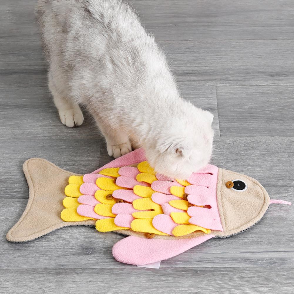 Pet Dog Cat Sniffing Mat Fish Shaped Pet Toy Sniffing Training Blanket Fleece Feeding Pad Pink