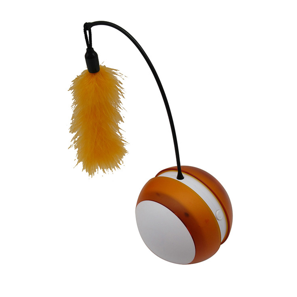 Electric Tumbler Luminous Vocal Rolling Ball with Feather Teaser Interactive Pet Toy for Cats White orange