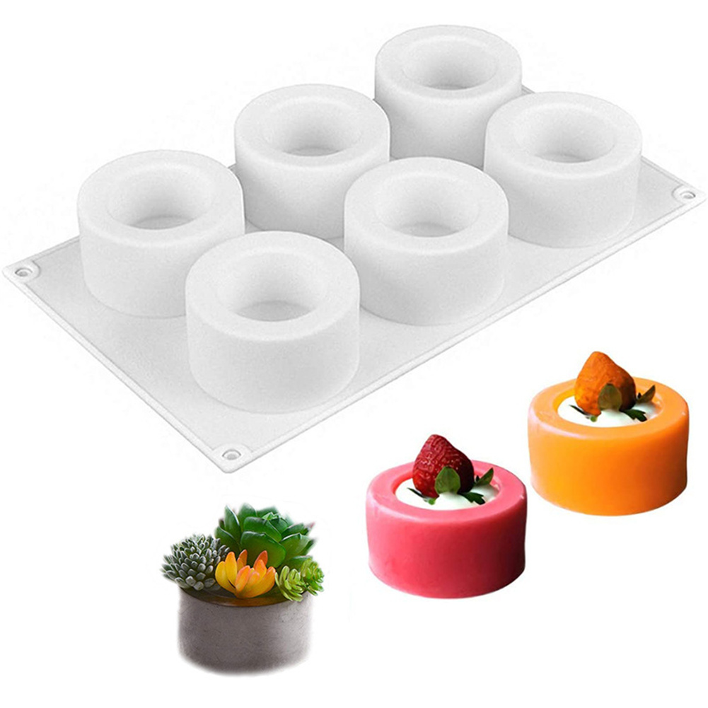 6-gird Silicone Pudding Cake Mold Baking Shaper Household Kitchen  Accessories white