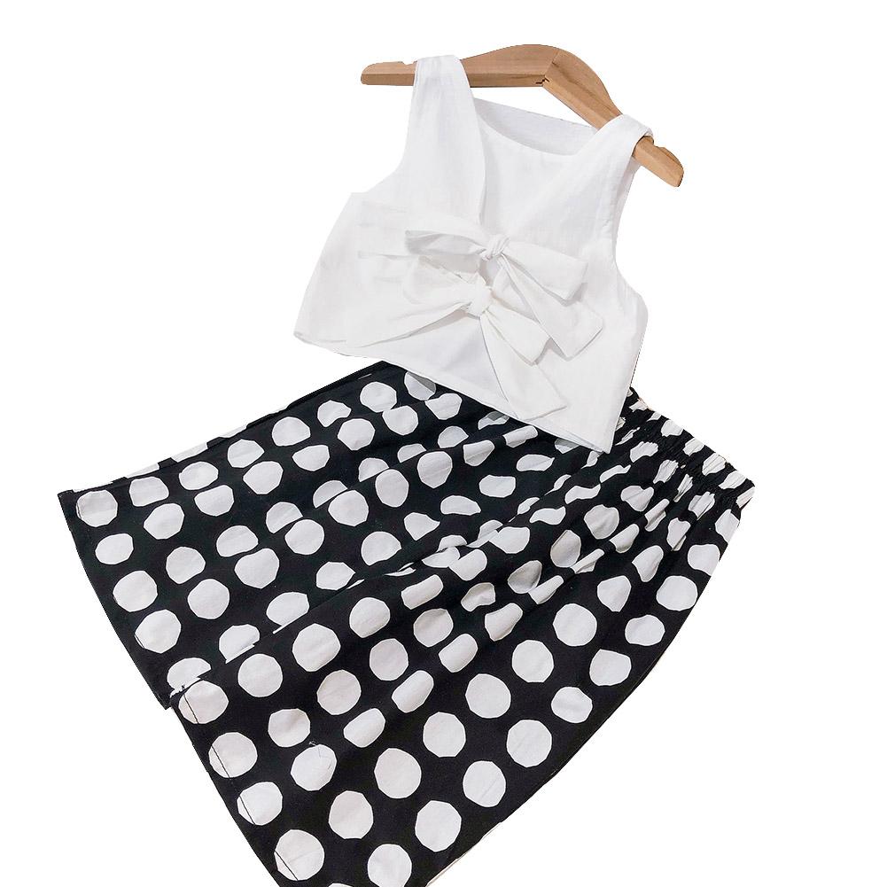 2 Pcs/set Girls Suit Bowknot Vest Top + Wide Leg Pants for 3-8 Years Old Kids white_110