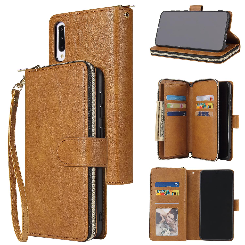For Samsung A10/A20/A30/A50/A30S/A50S Pu Leather  Mobile Phone Cover Zipper Card Bag + Wrist Strap brown
