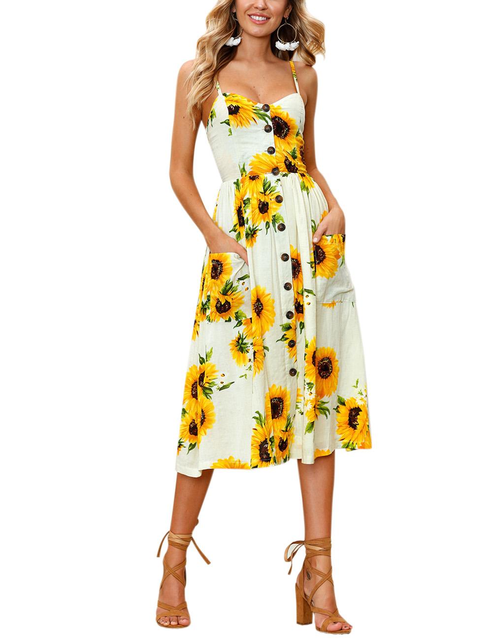 Women Sleeveless Long Dress Fashion Printing Elegant Beach Backless Sling Skirt for Summer