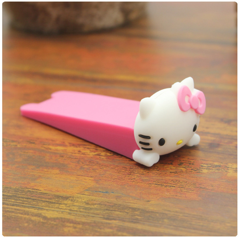 1PC/Set Cartoon Doll Door Stopper Soft Door Windproof Baby Anti-pinch Door File Pink KT cat_9.5*3.5CM