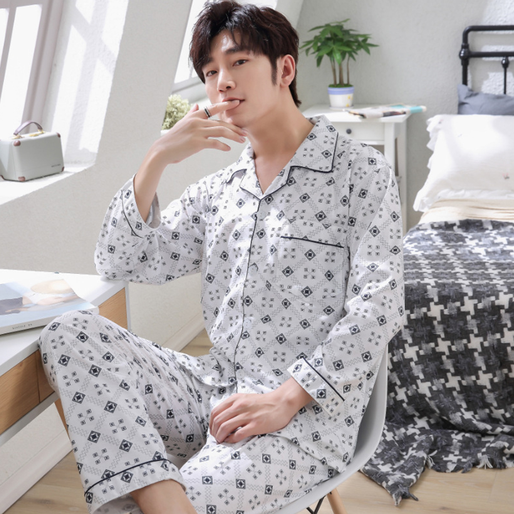 Men Spring and Autumn Cotton Long Sleeve Casual Breathable Home Wear Set Pajamas 8852 blue_XXXL