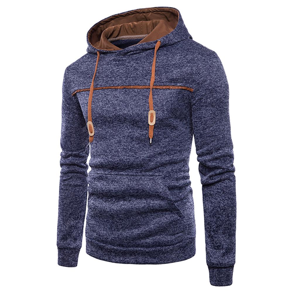 Men Casual Sports Long Sleeve Hoodie Simple Solid Color Hooded Sweatshirt Pullover Navy_M