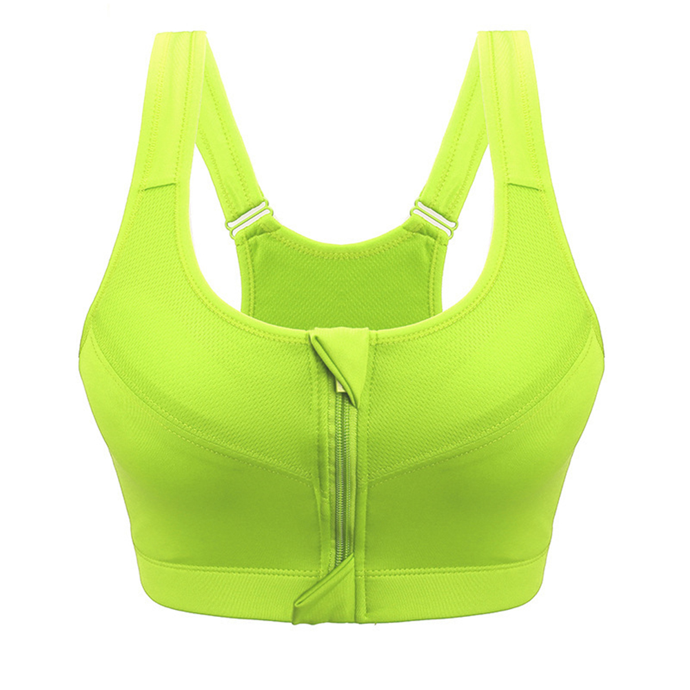 Women No Steel Ring Breathable Thin Yoga&Sports Bra Professional Design Running Shockproof Bra with Zipper Underwear Fluorescent green_L