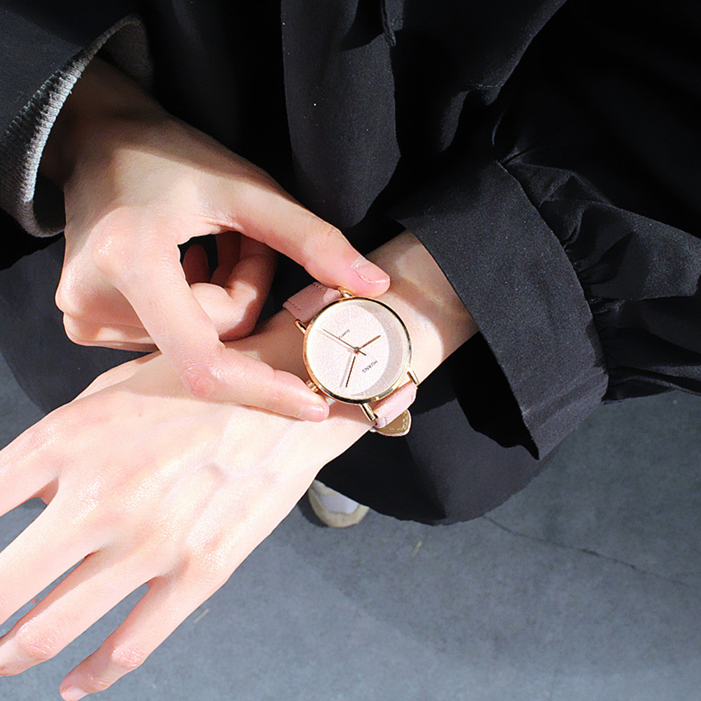 [Indonesia Direct] Simple Casual All-match Quartz Watch for Couples Confidante pink S
