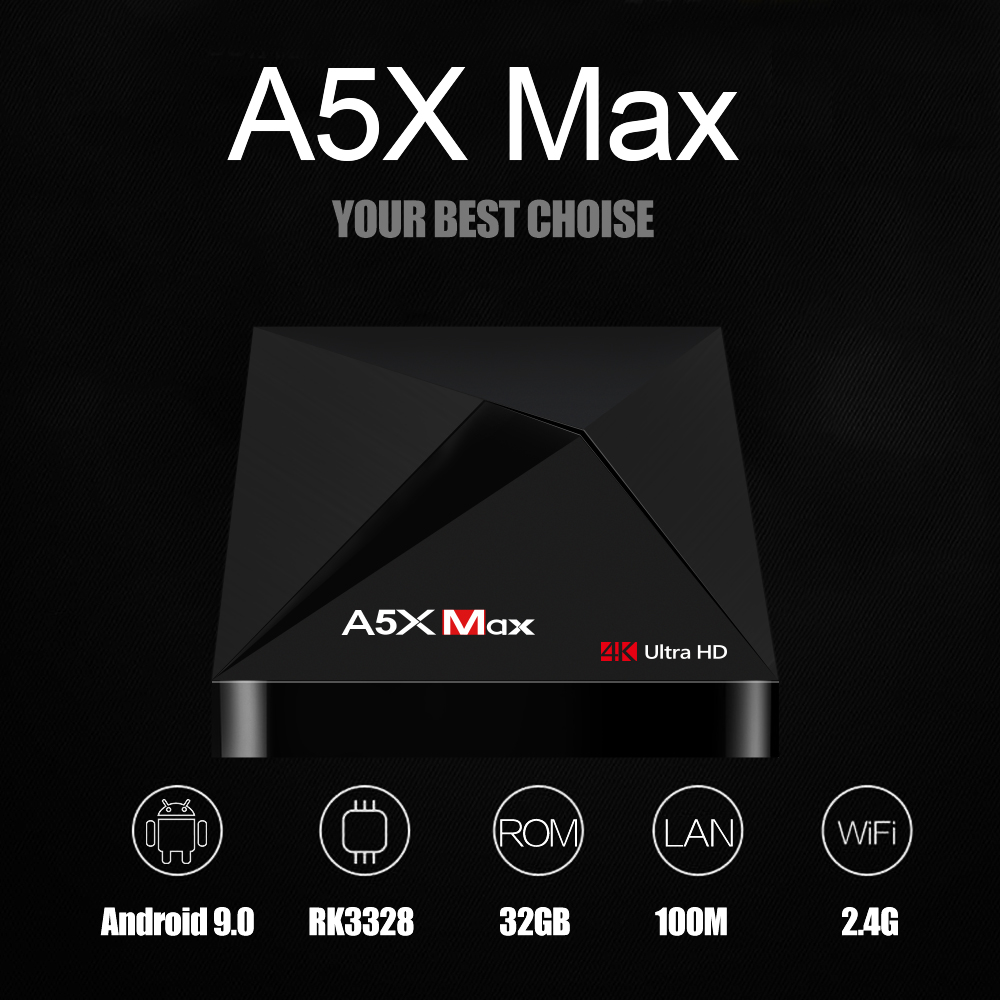 A5X MAX TV Box 4GB DDR3 SDRAM 32GB Flash RK3318 Quad-Core for Android 9.0 4K HD H.265 2.4G WiFi Media Player  British regulations