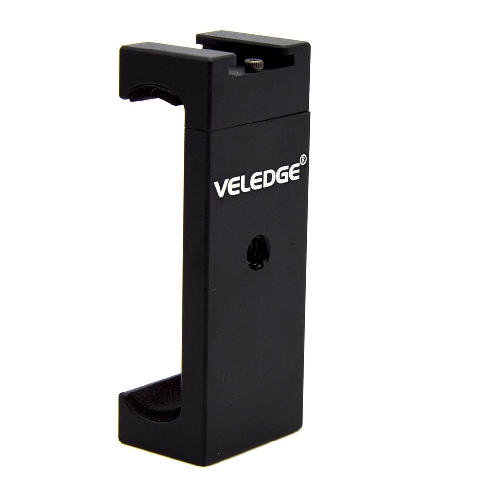 [Indonesia Direct] Veledge Universal Mini Aluminum Alloy Phone Tripod Mount Adapter Bracket Holder Clip for iPhone Samsung Sony Smartphone black
