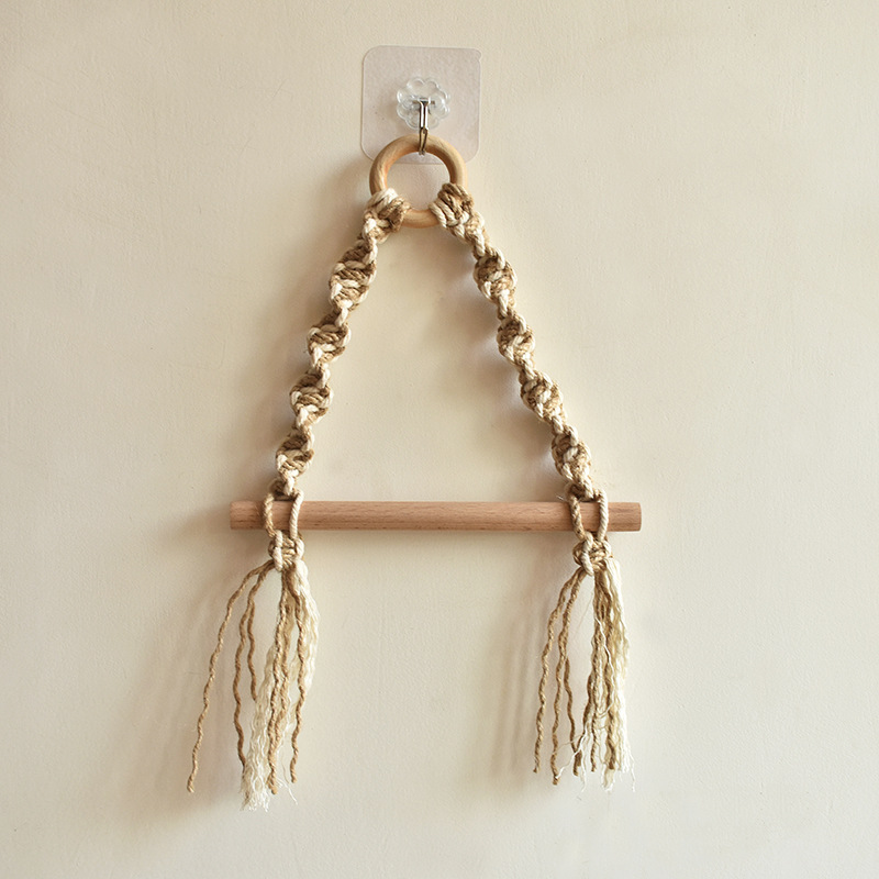 Cotton Rope Toilet  Paper  Holder Retro Style Wall-mounted Paper Towel Mount Dispenser Hemp rope + cotton rope (including sticky hook)
