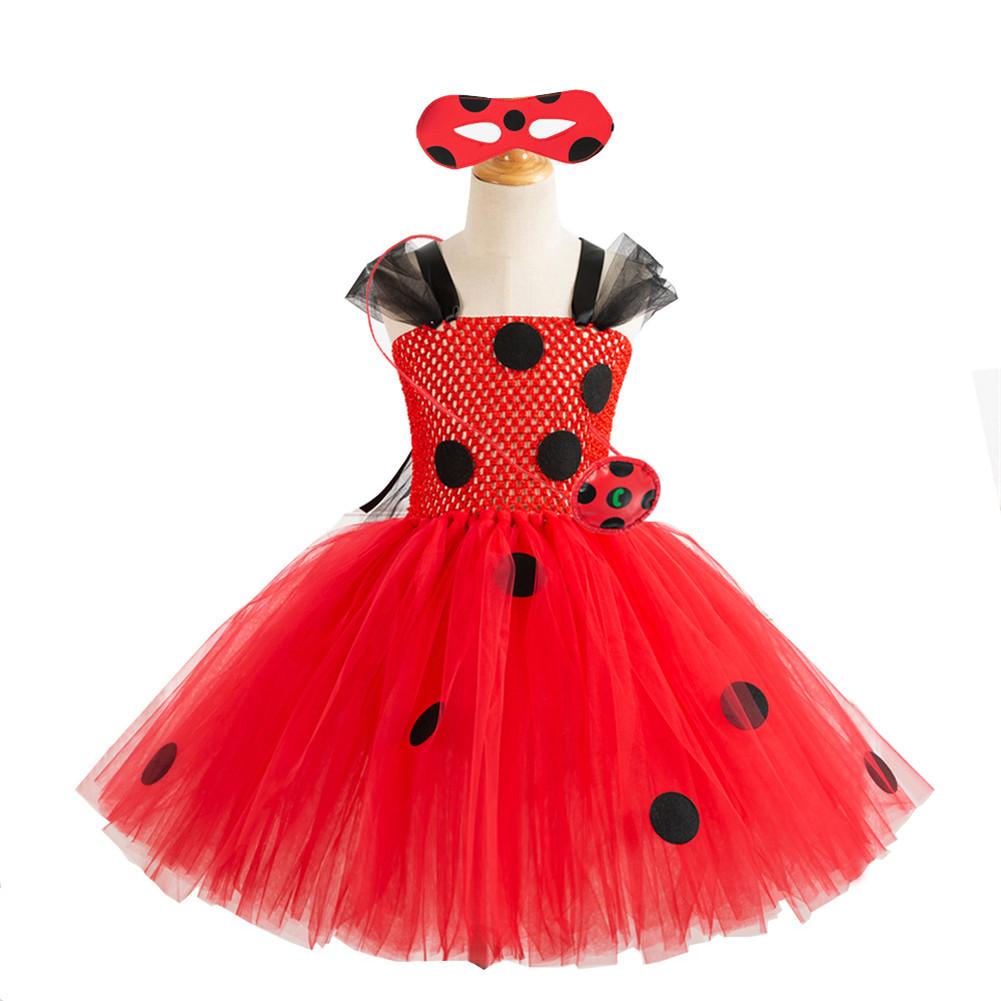 3 Pcs/set Girls Dress Cartoon Cosplay Costumes + Eye Mask + Pendant for 4-12 Years Old Kids HD93446