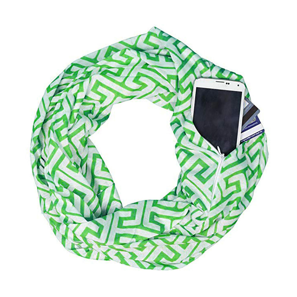 Men's and Women's Scarf Printed Storage Zipper Pockets Scarves green_Above 175cm