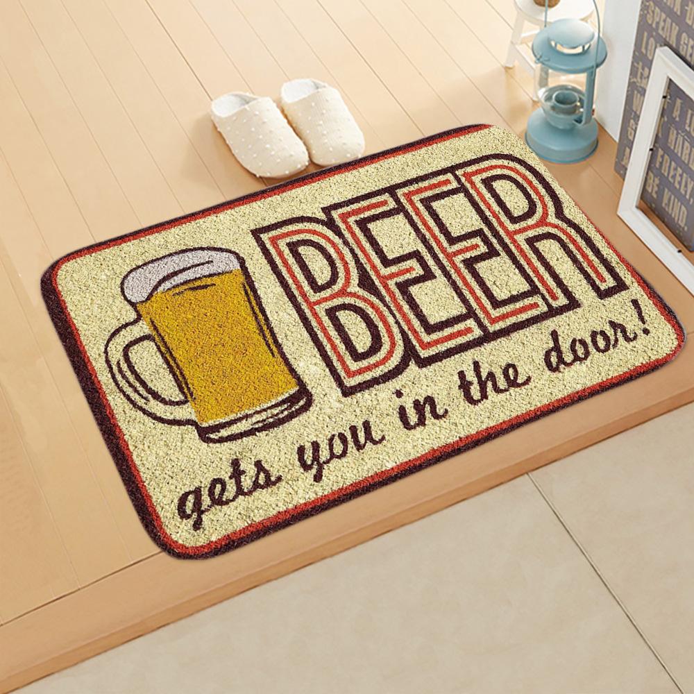 Fleece Door Mat Letter Printed Doormat Anti-slip Entrance Floor Mats for Bedroom Bathroom Carpet Rug 40*60cm