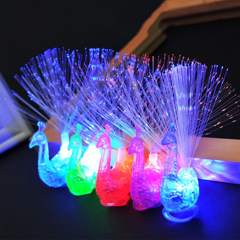[EU Direct] Kids Luminous Toy Colorful  Peacock Optical Fiber Led Lamp Flash Finger Night Lights