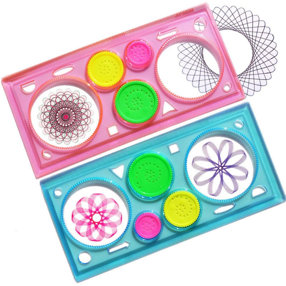 [EU Direct] Creative Drawing Tool Playset Geometric Ruler Student Drafting Stencil Gift Random Color