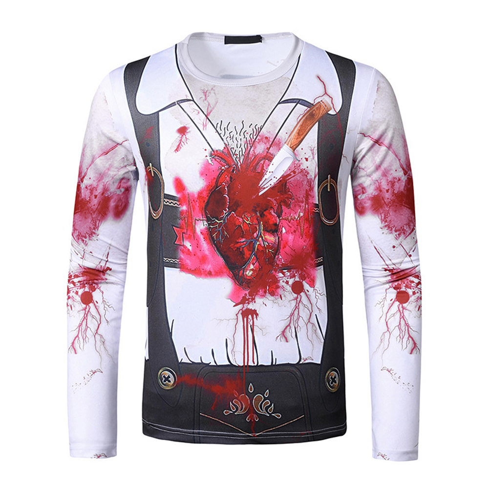Men Long-sleeved Shirt Round Neck 3D Digital Printing Halloween Series Horror Theme Long Sleeved Shirt White_L