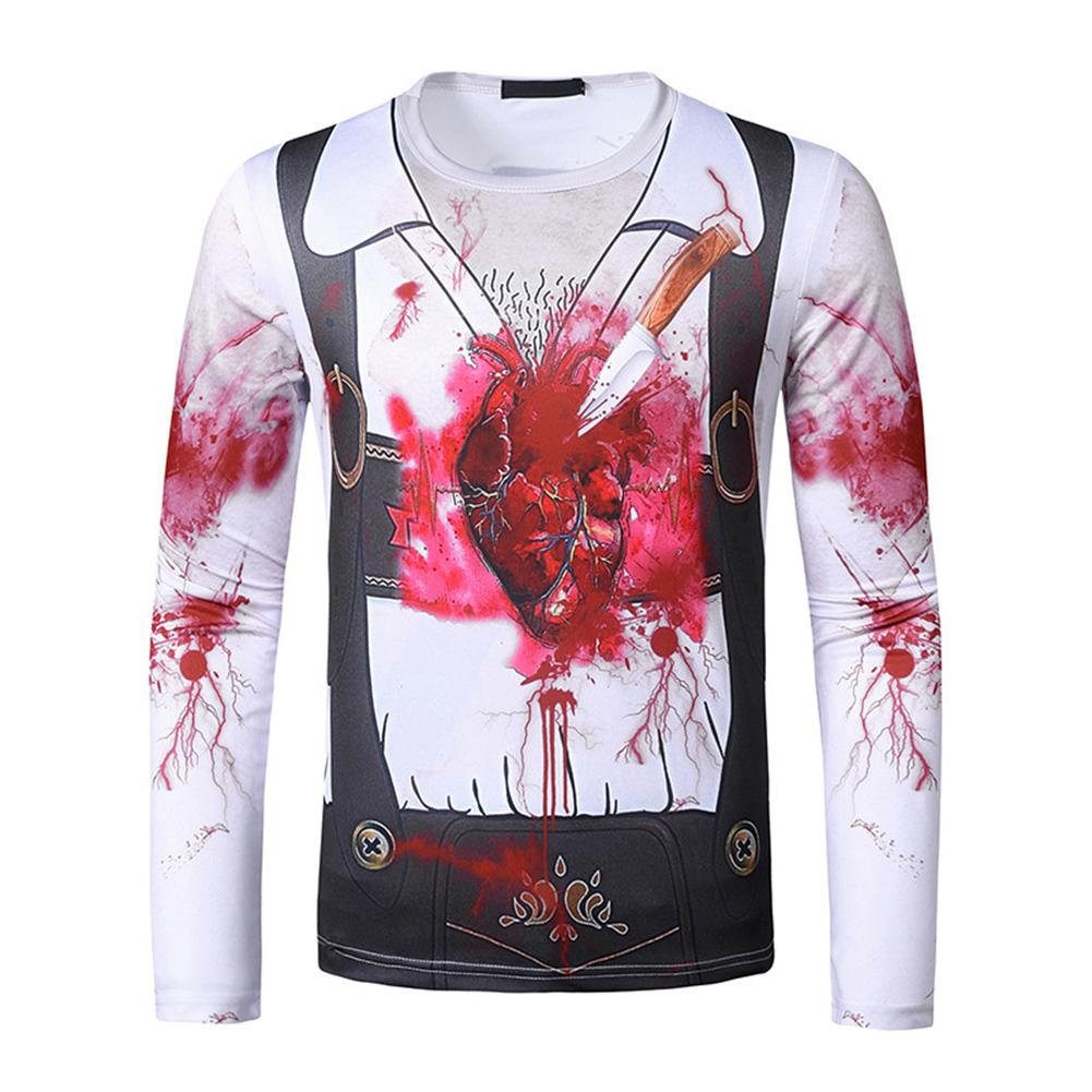 Men Long-sleeved Shirt Round Neck 3D Digital Printing Halloween Series Horror Theme Long Sleeved Shirt White_M