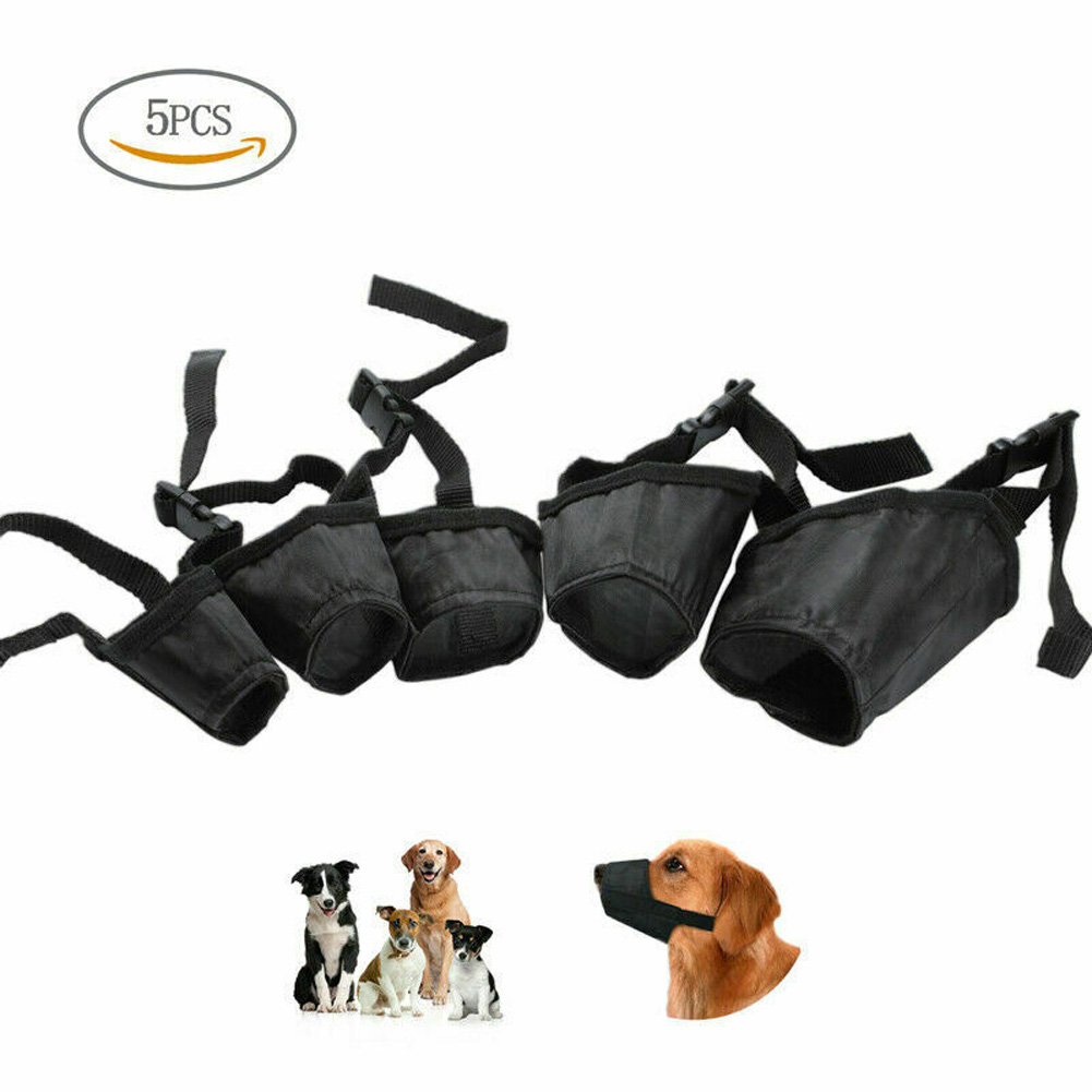 5Pcs/bag Dog Muzzle Bite-proof Black Adjustable Nylon Oxford Soft No Bark Chew Pet Supply black_number 2
