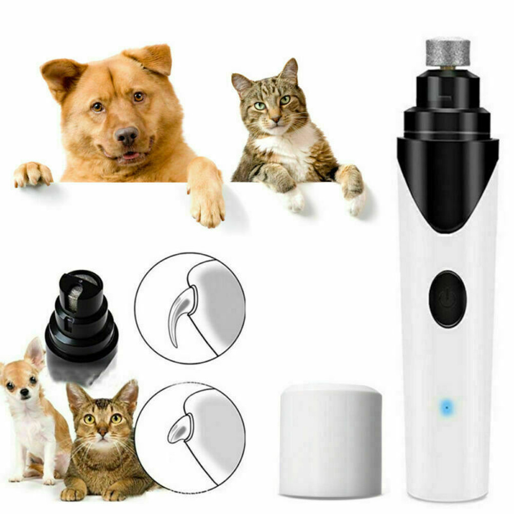 Rechargeable Automatic Pet Nail Grinder with USB Cable for Cats Dogs white