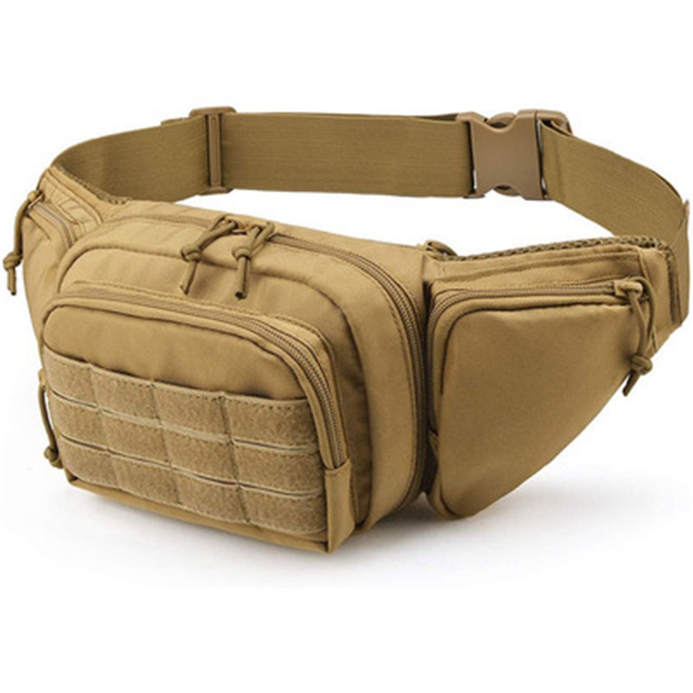 Waist  Bag Oxford Cloth Waist Pack Multi-pocket For Camping Hiking Pouch Belt Bags Khaki_15 inches