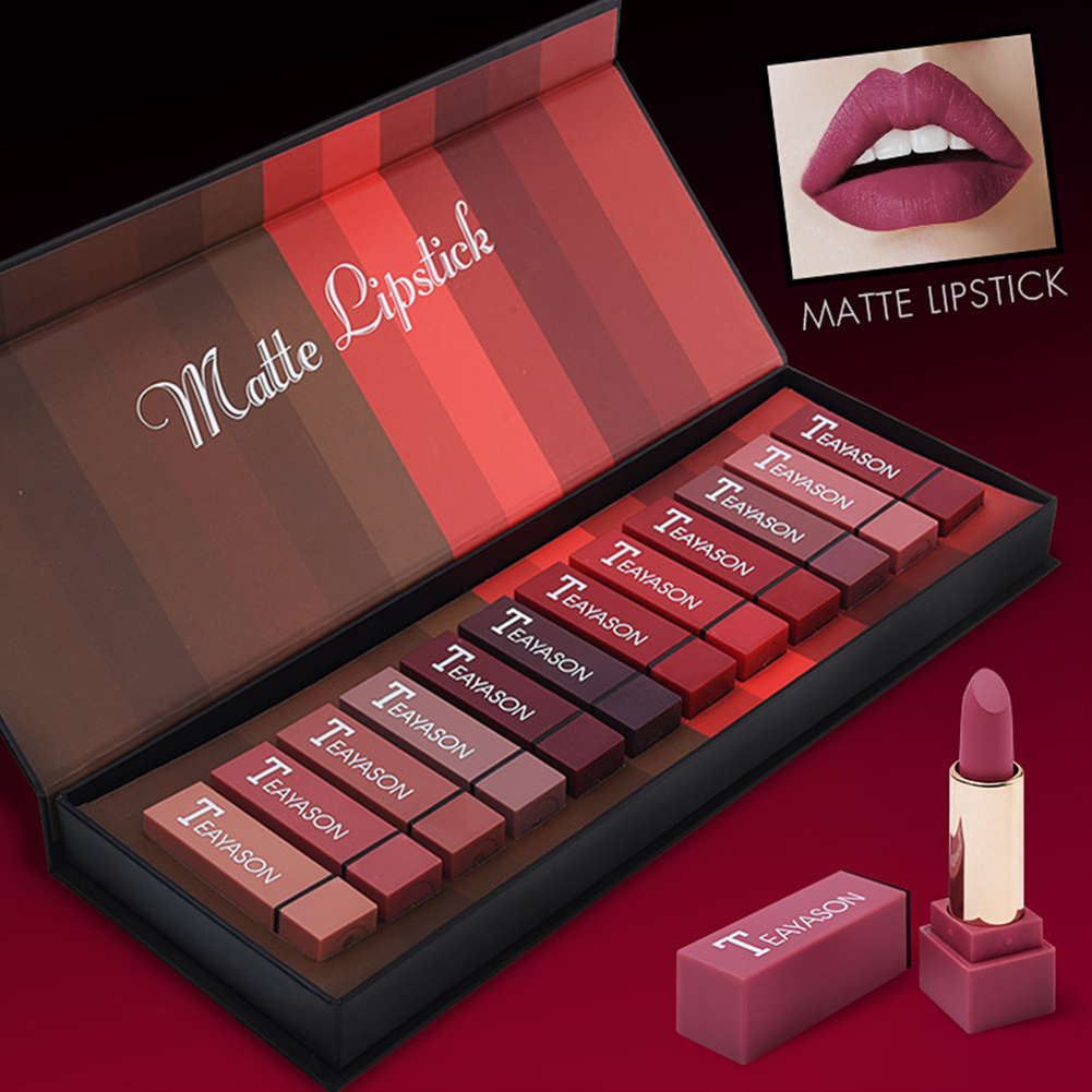 12 Pcs/set Lipstick Multicolor Long-lasting Square Tube Matte Lipstick