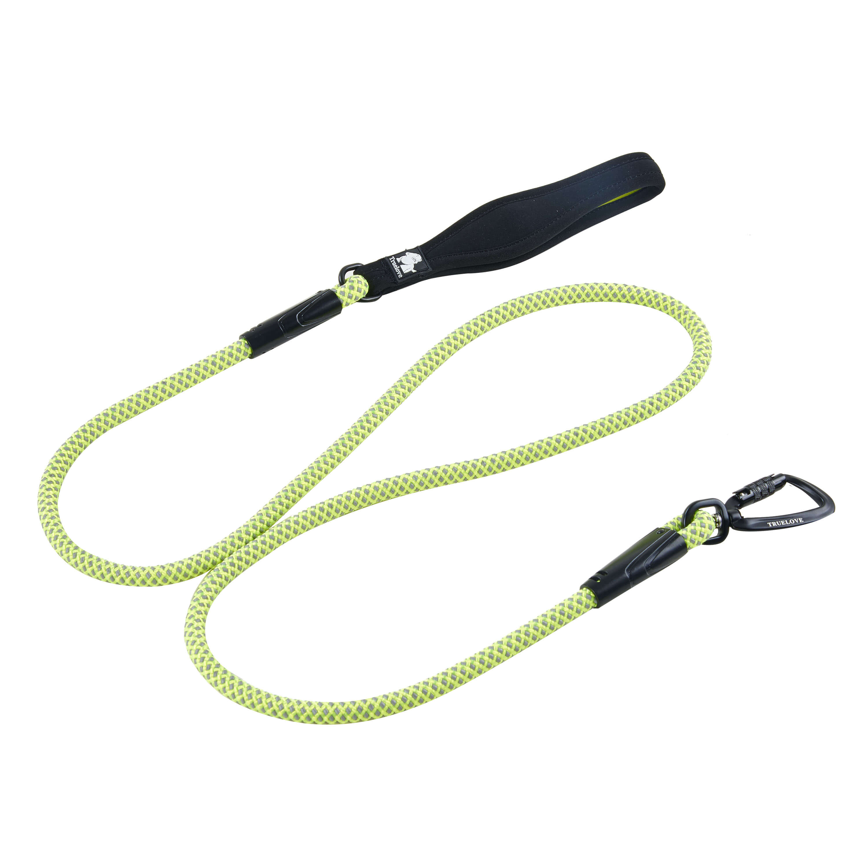 [US Direct] Original Truelove Reflective Rope Dog Leash, Training Leash with Secure Locking Carabiner for Medium & Large Dogs (5.9 ft, M, Green) Green_M