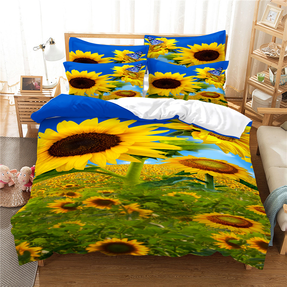 2Pcs/3Pcs Full/Queen/King Quilt Cover +Pillowcase Set with 3D Digital Flower Printing Queen