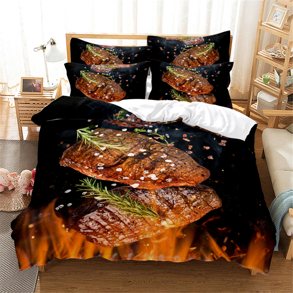 2Pcs/3Pcs Full/Queen/King Quilt Cover +Pillowcase 3D Digital Printing BBQ Fruit Series Beeding Set Queen