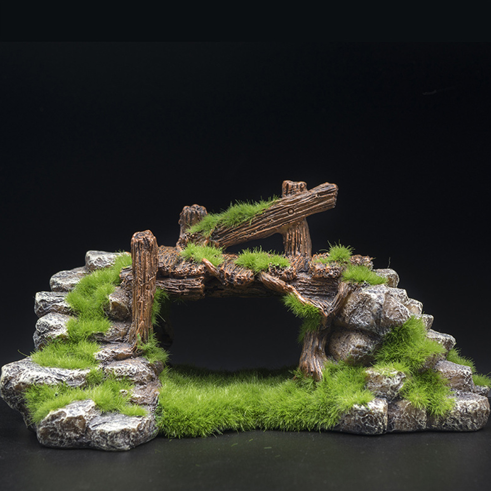 Aquarium Resin Moss Bridge Fish Cave Tortoise Cylinder Landscape Rockery green