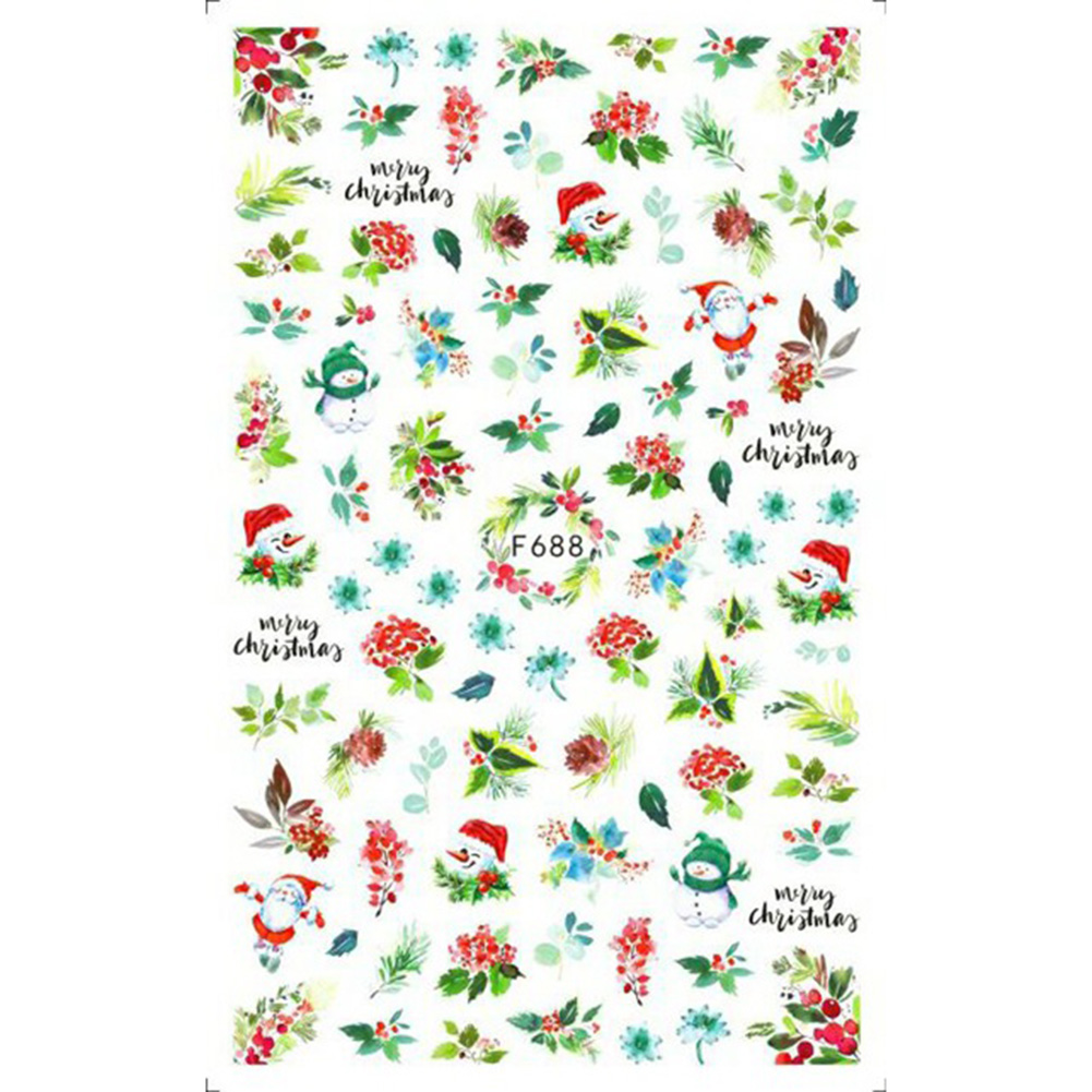 Christmas Halloween Adhesive 3d Nail Sticker Foil For Nails Art Decoration Cartoon Designs Nail Decals F688