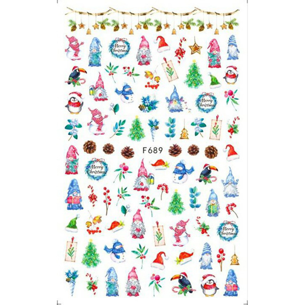 Christmas Halloween Adhesive 3d Nail Sticker Foil For Nails Art Decoration Cartoon Designs Nail Decals F689