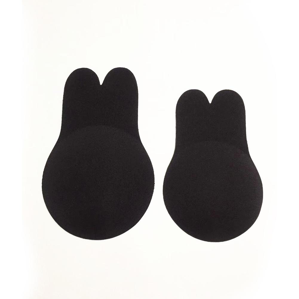 Women Cute Cartoon Silicone Adhesive Invisible Front Closure Chest Paste Bra Black 10cm_One size