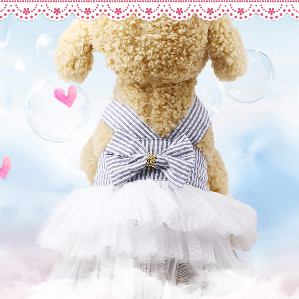 Princess Style Lace Bowknot Stripe Dress for Teddy Poodle Bichon Summer Wear