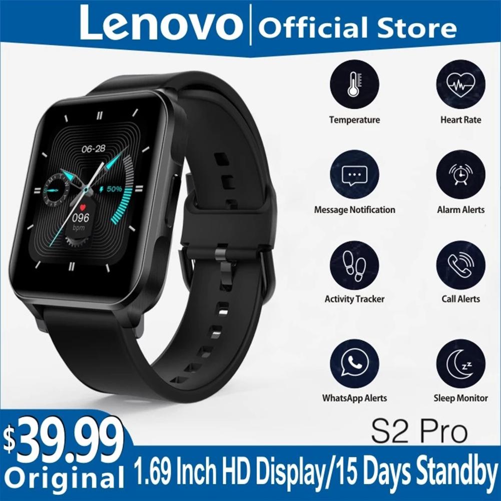 Original LENOVO S2 Pro Smartwatch 1.69-inch Hd Screen Waterproof Fitness Heart Rate Sleep Monitoring Smart Watch black