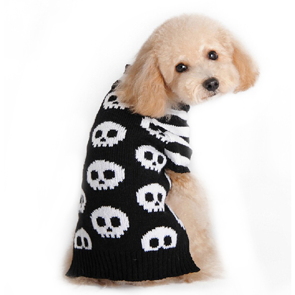 Black White Striped Skeleton Pet Dog Cat Puppy Clothes Halloween Sweater Costume Outfit
