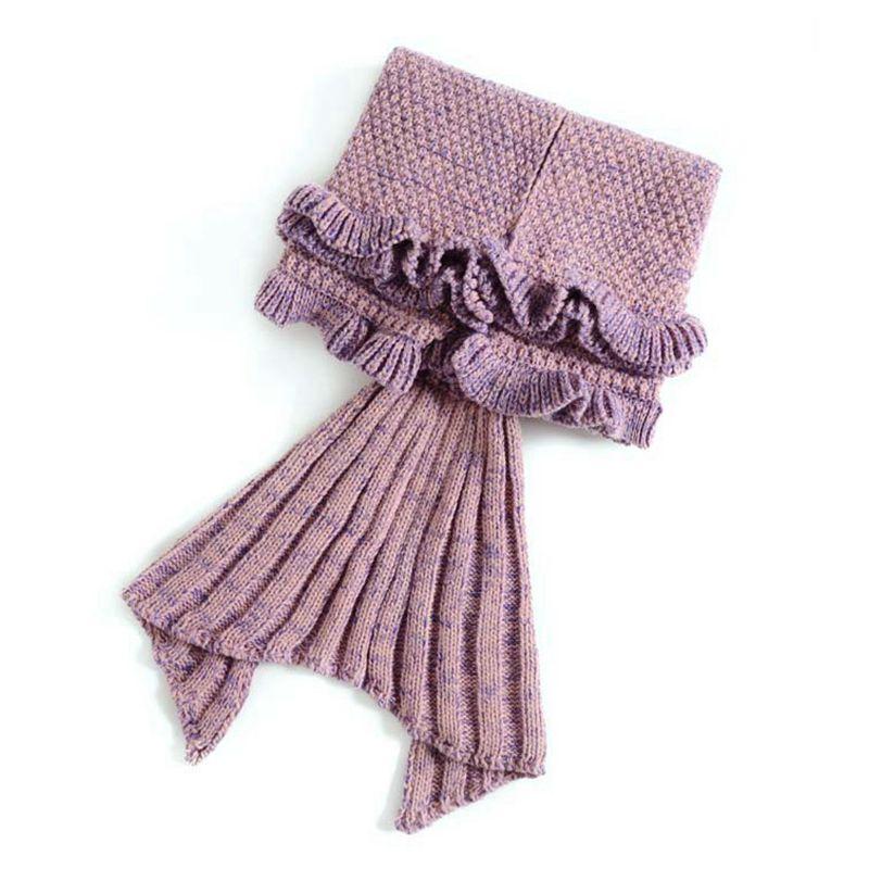 [US Direct] Children Lotus Leaf Edge Knit Mermaid Tail Blanket Sleeping Bag 70*140cm