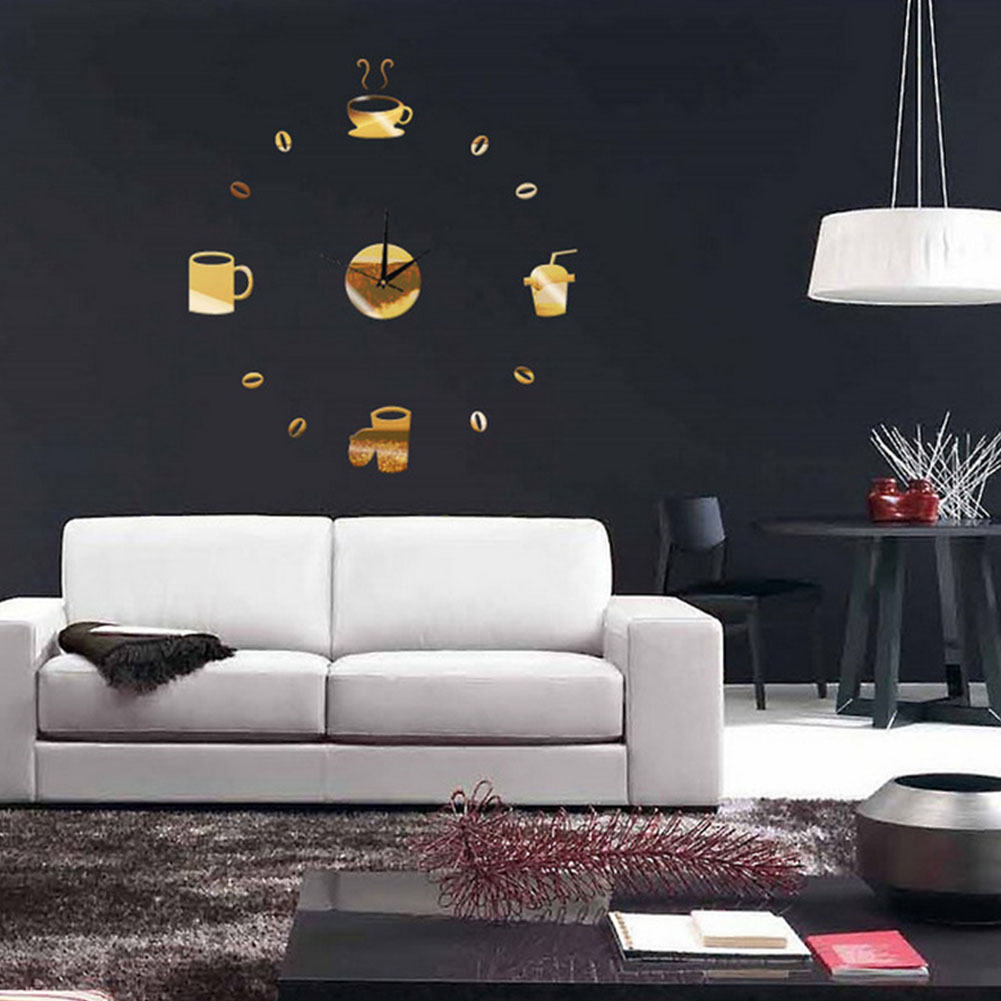 DIY Stylish Funny Coffee Cups Shape Mirror Sticker Clock Wall Clock Wall Sticker For Living Room Home Decoration Gold
